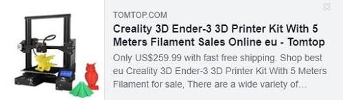 Kit d'imprimante 3D Creality 3D Ender-3 avec filament de 5 mètres Prix: 154,99 $ Livré depuis l'entrepôt de l'UE, livraison gratuite