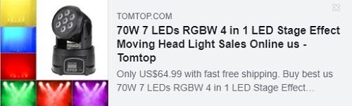 70W 7 LED RGBW 4合1 LED舞台效果摇头灯价格:$ 44.99从美国仓库提供,免费送货