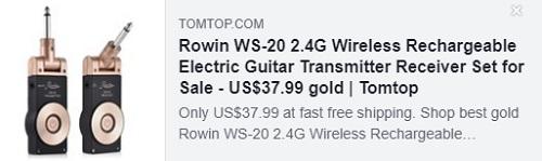 Rowin WS-20 2.4G无线充电电吉他发射器接收器套装Price:$ 23.99