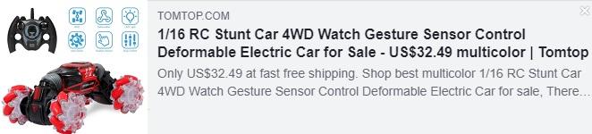 1/16 遥控特技车四驱手表手势传感器控制可变形电动车 Price: $32.49