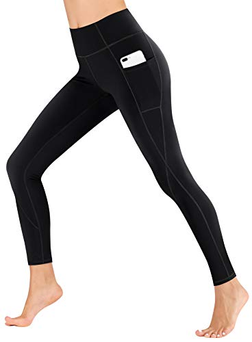 Heathyoga Yoga Pants with Pockets Extra Soft Leggings with Pockets for Women Non See-Through High Waist Workout Leggings Black