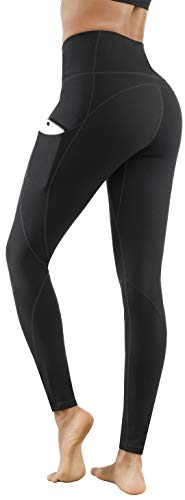 Lingswallow High Waist Yoga Pants - Yoga Pants with Pockets Tummy Control, 4 Ways Stretch Workout Running Yoga Leggings (Black, Small)