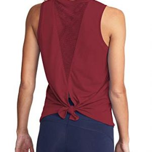 Mippo Workout Tops for Women Mesh Yoga Tops Workout Clothes Sleeveless High Neck Open Back Workout Shirts Tie Back Running Tank Tops Loose Fit Exercise Sports Gym Tops for Women Wine Red M
