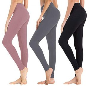 High Waisted Leggings for Women - Soft Athletic Tummy Control Pants for Running Cycling Yoga Workout - Reg & Plus Size (3 Pack Black, Dark Grey, Rosy Brown, One Size (US 2-12))