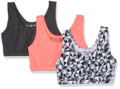 Fruit of the Loom Womens Built-Up Sports Bra 3 Pack Bra, Kaleidoscope/Charcoal/Punchy Peach, 40