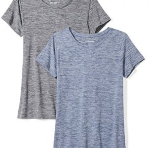 Amazon Essentials Womens 2-Pack Tech Stretch Short-Sleeve Crewneck T-Shirt, -black heather/navy heather, Medium