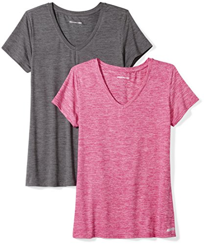 Amazon Essentials Womens 2-Pack Tech Stretch Short-Sleeve V-Neck T-Shirt, Charcoal Radiant Raspberry Heather, Small